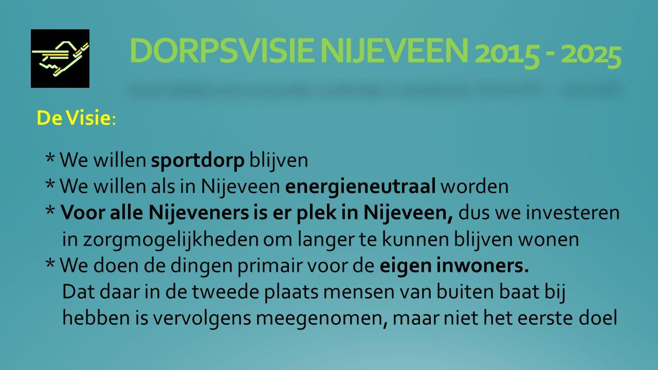 DORPSVISIE NIJEVEEN 2015 - 20 25 Werkgroep: Zorg Doel is dat ook met mensen met zwaardere zorg in Nijeveen kunnen blijven wonen.