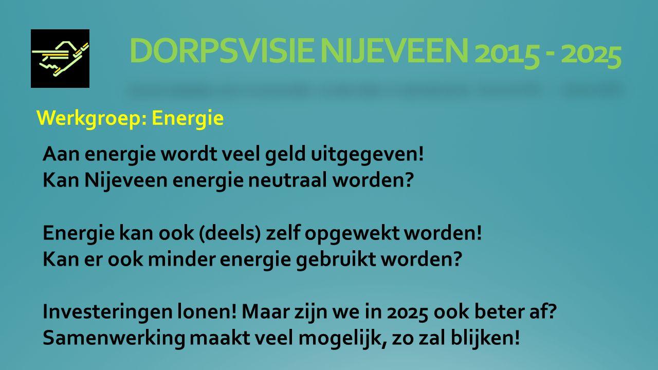 DORPSVISIE NIJEVEEN 2015 - 20 25 Werkgroep: Energie Aan energie wordt veel geld uitgegeven.