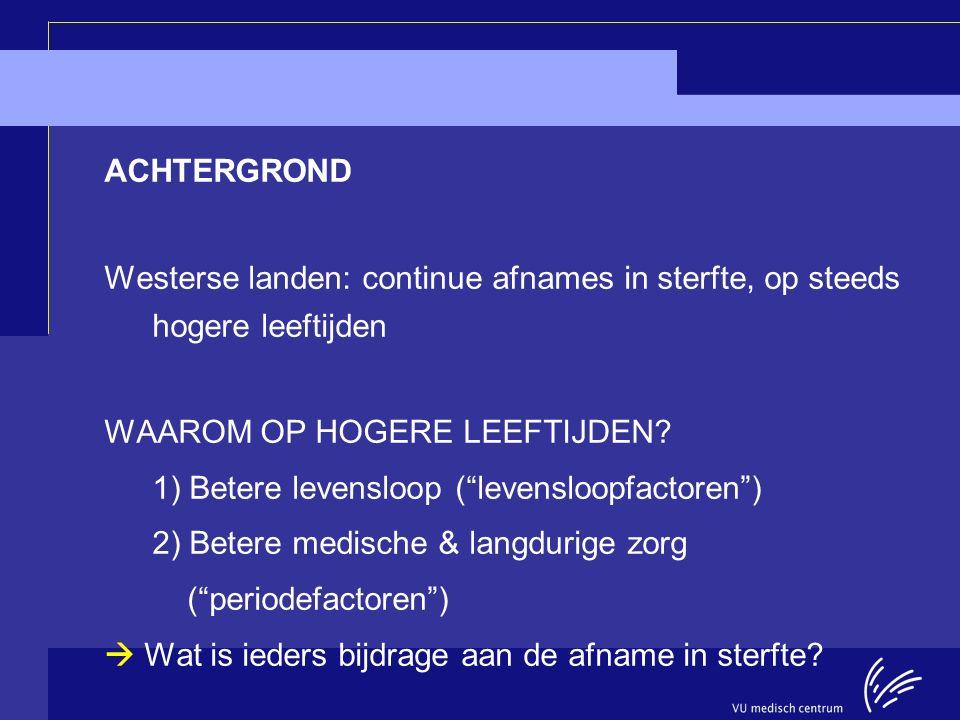 Longitudinal Aging Study Amsterdam ACHTERGROND Westerse landen: continue afnames in sterfte, op steeds hogere leeftijden WAAROM OP HOGERE LEEFTIJDEN?