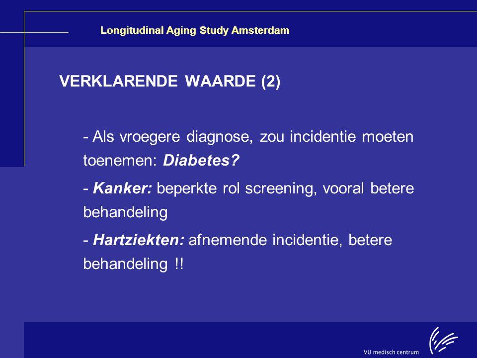 Longitudinal Aging Study Amsterdam VERKLARENDE WAARDE (2) - Als vroegere diagnose, zou incidentie moeten toenemen: Diabetes? - Kanker: beperkte rol sc