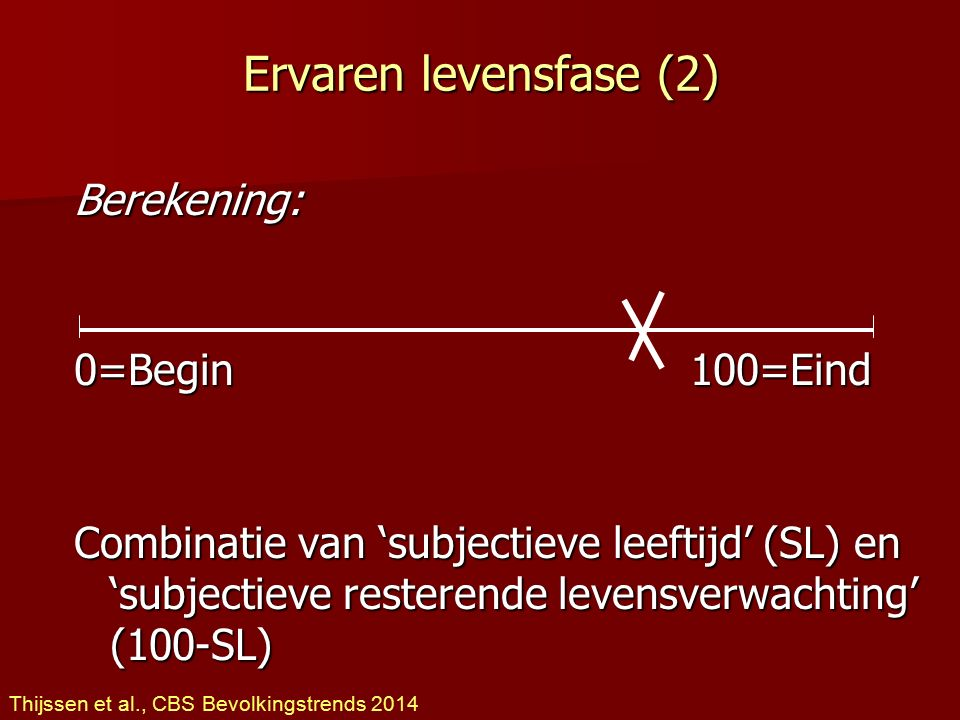 Ervaren levensfase (2) Berekening: 0=Begin 100=Eind Combinatie van 'subjectieve leeftijd' (SL) en 'subjectieve resterende levensverwachting' (100-SL)