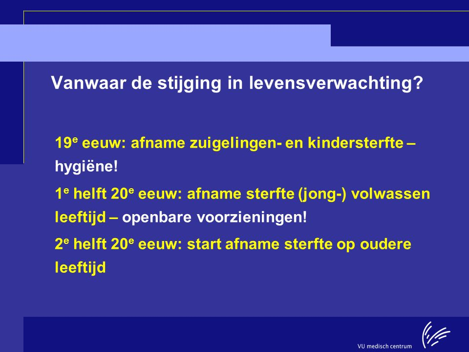 Longitudinal Aging Study Amsterdam IN SLECHTS KORTE TIJD (1998-2012), GROTE WINST IN LEVENSJAREN Aantal jaren% LeeftijdManVrouwManVrouw 553.21.614 6 652.91.619 8 751.91.32111 850.80.61710