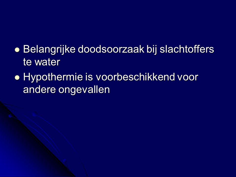 Belangrijke doodsoorzaak bij slachtoffers te water Belangrijke doodsoorzaak bij slachtoffers te water Hypothermie is voorbeschikkend voor andere ongevallen Hypothermie is voorbeschikkend voor andere ongevallen