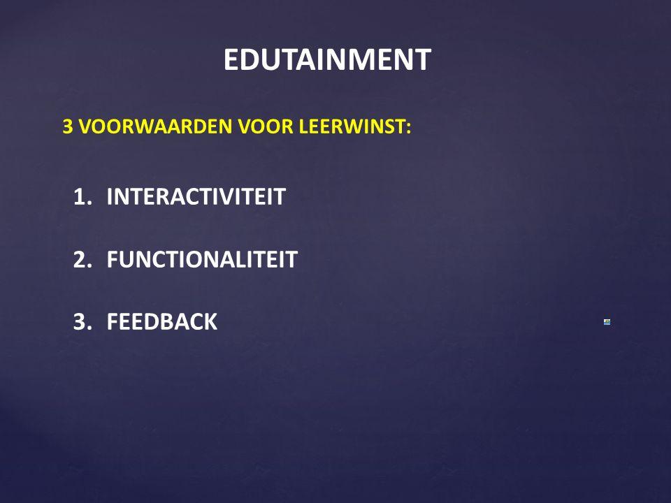 EDUTAINMENT 3 VOORWAARDEN VOOR LEERWINST: 1.INTERACTIVITEIT 2.FUNCTIONALITEIT 3.FEEDBACK