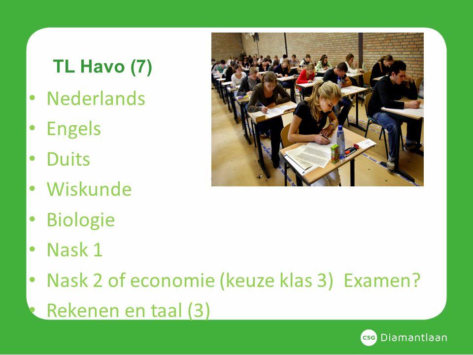 TL Havo (7) Nederlands Engels Duits Wiskunde Biologie Nask 1 Nask 2 of economie (keuze klas 3) Examen? Rekenen en taal (3)