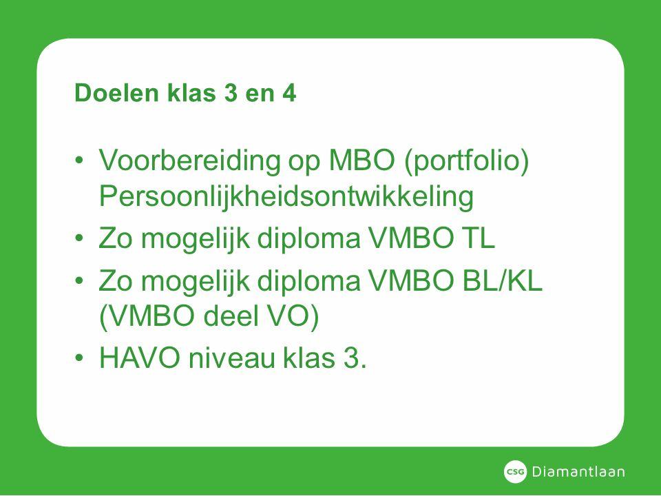 Doelen klas 3 en 4 Voorbereiding op MBO (portfolio) Persoonlijkheidsontwikkeling Zo mogelijk diploma VMBO TL Zo mogelijk diploma VMBO BL/KL (VMBO deel VO) HAVO niveau klas 3.