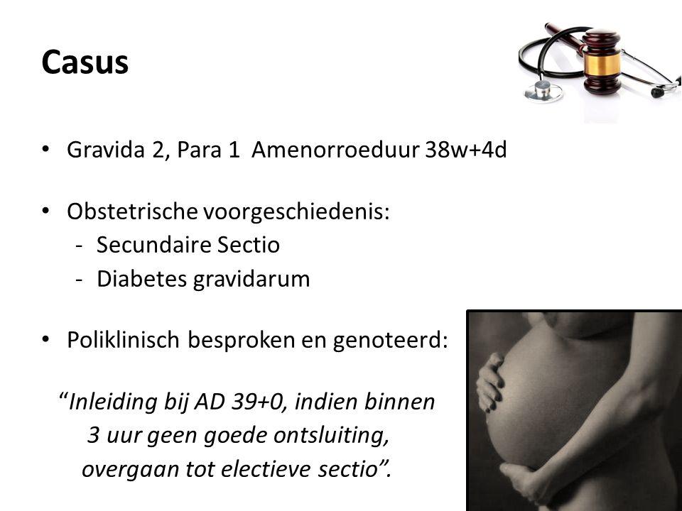 Casus Gravida 2, Para 1 Amenorroeduur 38w+4d Obstetrische voorgeschiedenis: -Secundaire Sectio -Diabetes gravidarum Poliklinisch besproken en genoteer