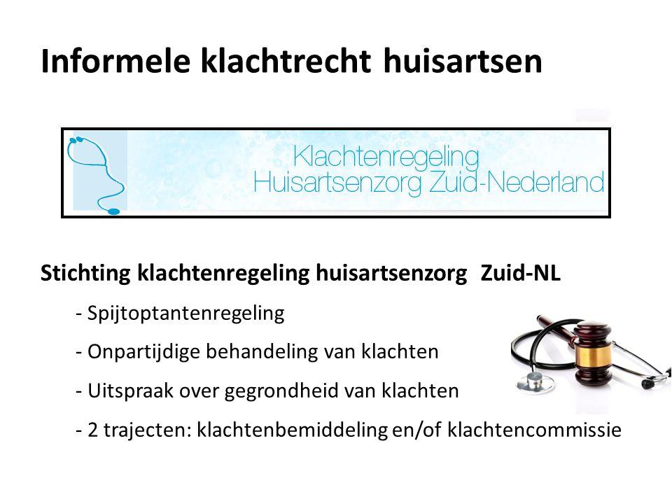 Informele klachtrecht huisartsen Stichting klachtenregeling huisartsenzorg Zuid-NL - Spijtoptantenregeling - Onpartijdige behandeling van klachten - U