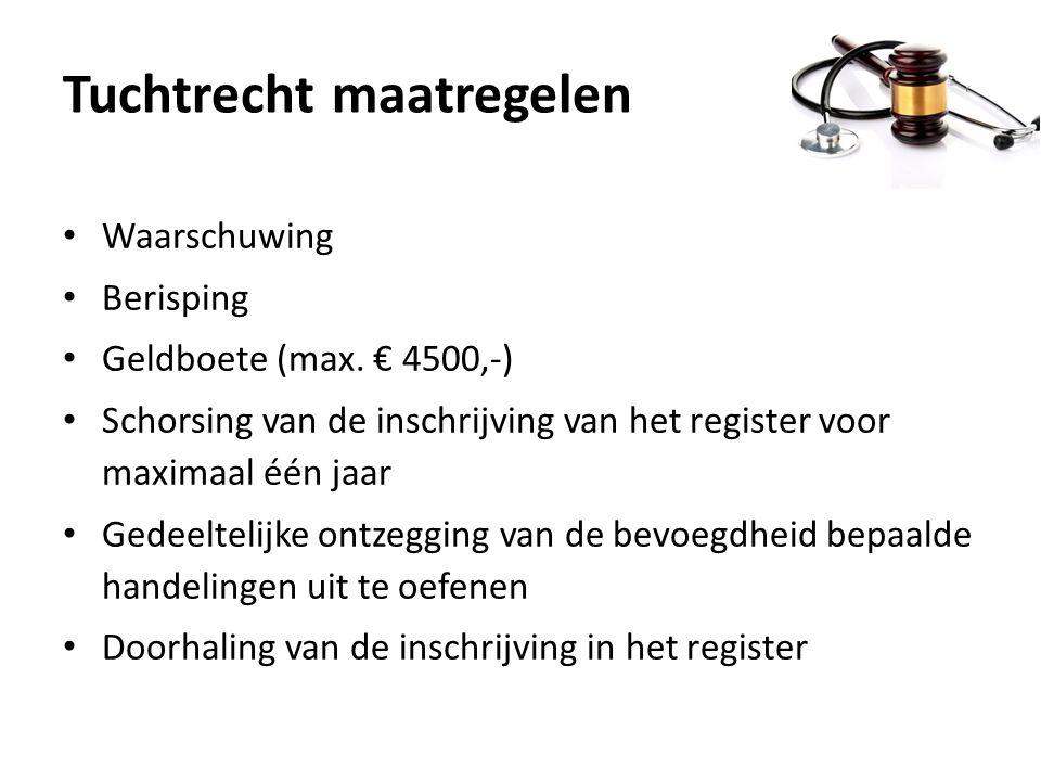 Tuchtrecht maatregelen Waarschuwing Berisping Geldboete (max. € 4500,-) Schorsing van de inschrijving van het register voor maximaal één jaar Gedeelte