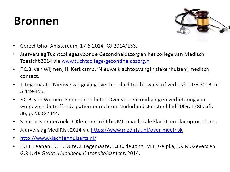 Bronnen Gerechtshof Amsterdam, 17-6-2014, GJ 2014/133. Jaarverslag Tuchtcolleges voor de Gezondheidszorg en het college van Medisch Toezicht 2014 via