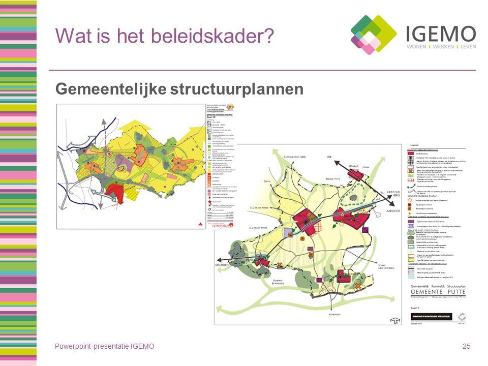 Wat is het beleidskader? Powerpoint-presentatie IGEMO25 Gemeentelijke structuurplannen