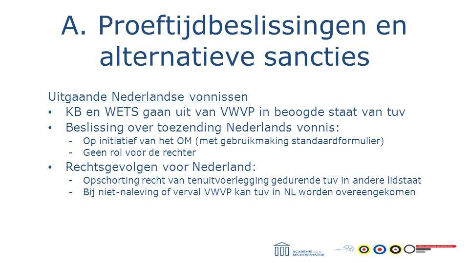 A. Proeftijdbeslissingen en alternatieve sancties Uitgaande Nederlandse vonnissen KB en WETS gaan uit van VWVP in beoogde staat van tuv Beslissing ove