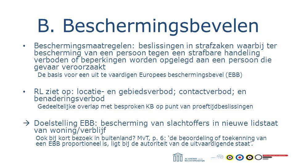 B. Beschermingsbevelen Beschermingsmaatregelen: beslissingen in strafzaken waarbij ter bescherming van een persoon tegen een strafbare handeling verbo