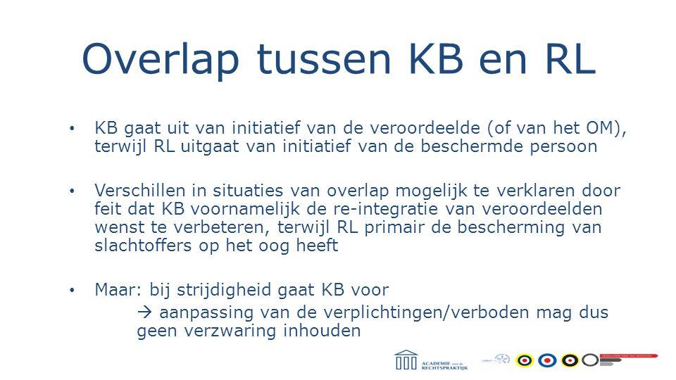 Overlap tussen KB en RL KB gaat uit van initiatief van de veroordeelde (of van het OM), terwijl RL uitgaat van initiatief van de beschermde persoon Ve