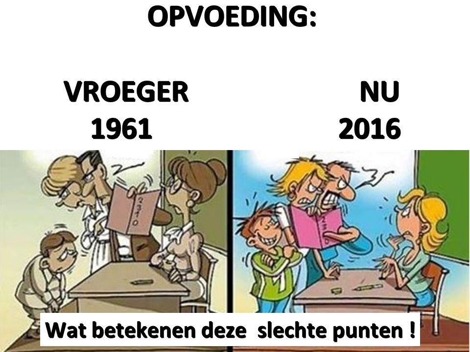 OPVOEDING: VROEGER NU 1961 2016 1961 2016 Wat betekenen deze slechte punten !