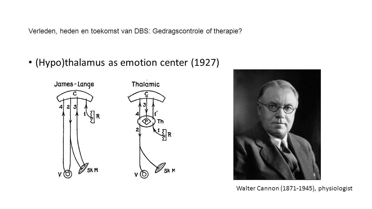 Verleden, heden en toekomst van DBS: Gedragscontrole of therapie? (Hypo)thalamus as emotion center (1927) Walter Cannon (1871-1945), physiologist