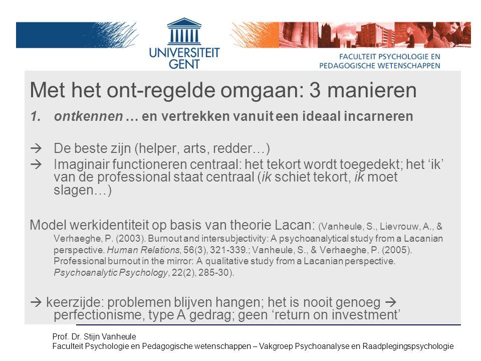 Met het ont-regelde omgaan: 3 manieren 1.ontkennen … en vertrekken vanuit een ideaal incarneren  De beste zijn (helper, arts, redder…)  Imaginair functioneren centraal: het tekort wordt toegedekt; het 'ik' van de professional staat centraal (ik schiet tekort, ik moet slagen…) Model werkidentiteit op basis van theorie Lacan: (Vanheule, S., Lievrouw, A., & Verhaeghe, P.