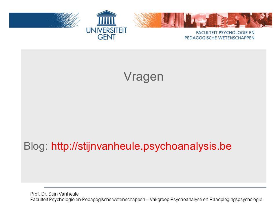 Vragen. Vragen Blog: http://stijnvanheule.psychoanalysis.be Prof.