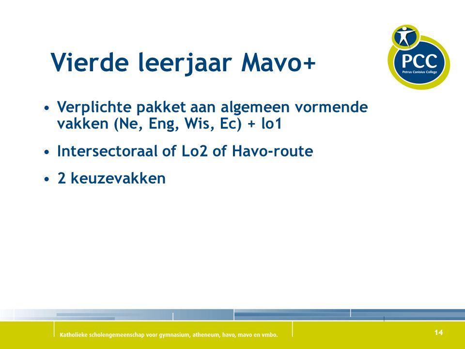 14 Vierde leerjaar Mavo+ Verplichte pakket aan algemeen vormende vakken (Ne, Eng, Wis, Ec) + lo1 Intersectoraal of Lo2 of Havo-route 2 keuzevakken