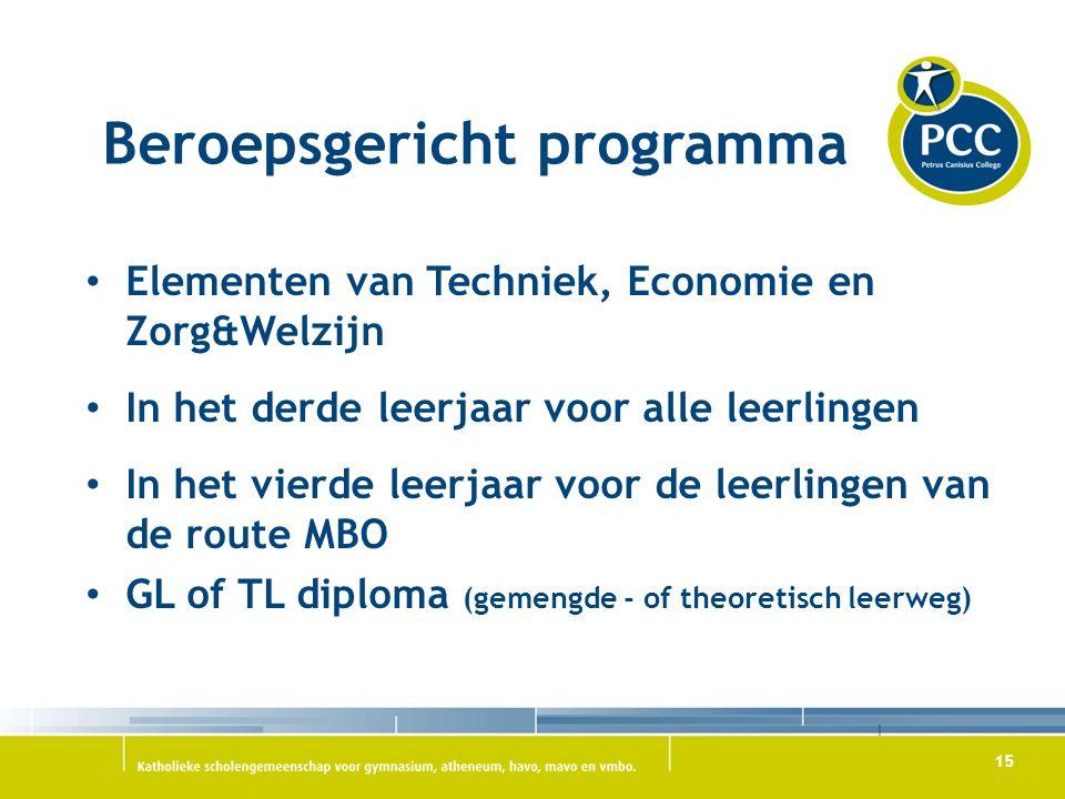 15 Beroepsgericht programma Elementen van Techniek, Economie en Zorg&Welzijn In het derde leerjaar voor alle leerlingen In het vierde leerjaar voor de leerlingen van de route MBO GL of TL diploma (gemengde - of theoretisch leerweg)