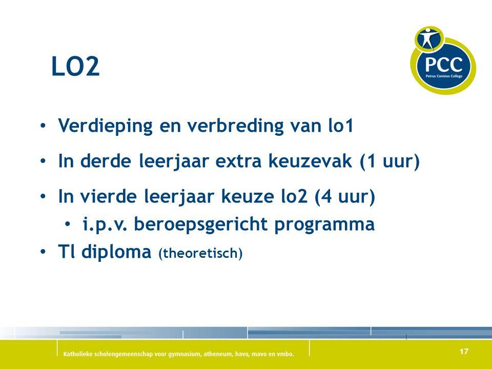 17 LO2 Verdieping en verbreding van lo1 In derde leerjaar extra keuzevak (1 uur) In vierde leerjaar keuze lo2 (4 uur) i.p.v.