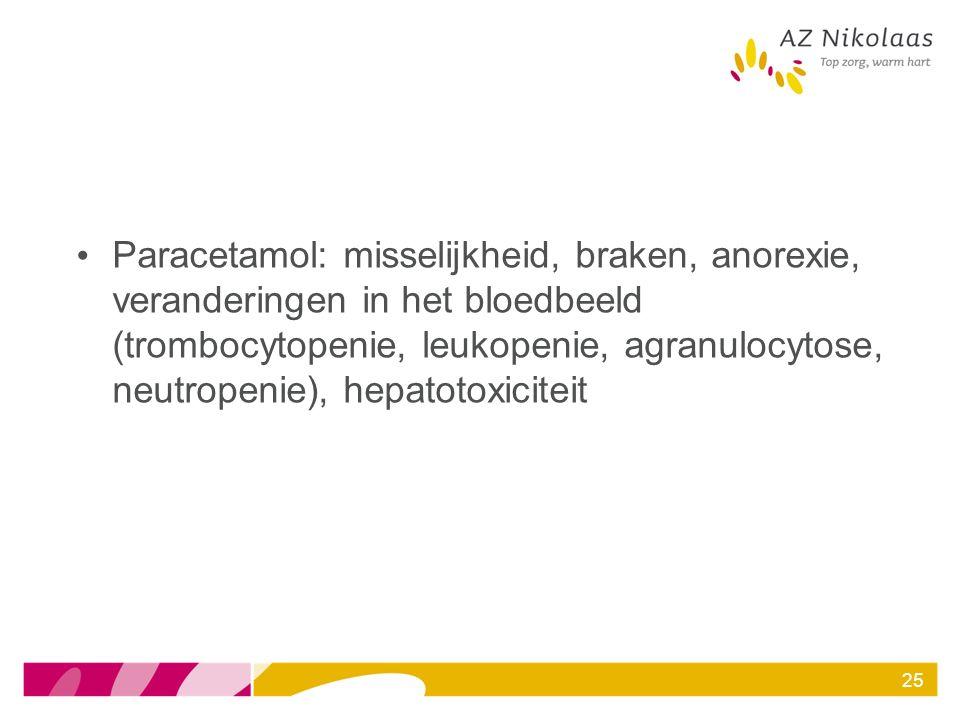 Paracetamol: misselijkheid, braken, anorexie, veranderingen in het bloedbeeld (trombocytopenie, leukopenie, agranulocytose, neutropenie), hepatotoxici