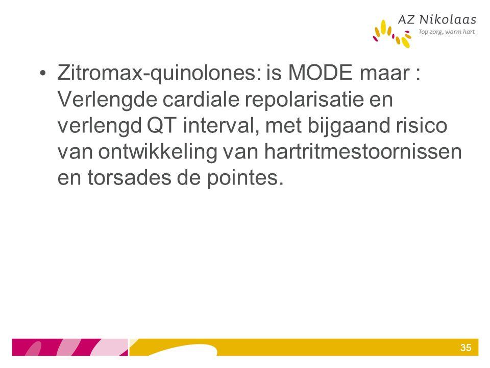 Zitromax-quinolones: is MODE maar : Verlengde cardiale repolarisatie en verlengd QT interval, met bijgaand risico van ontwikkeling van hartritmestoorn