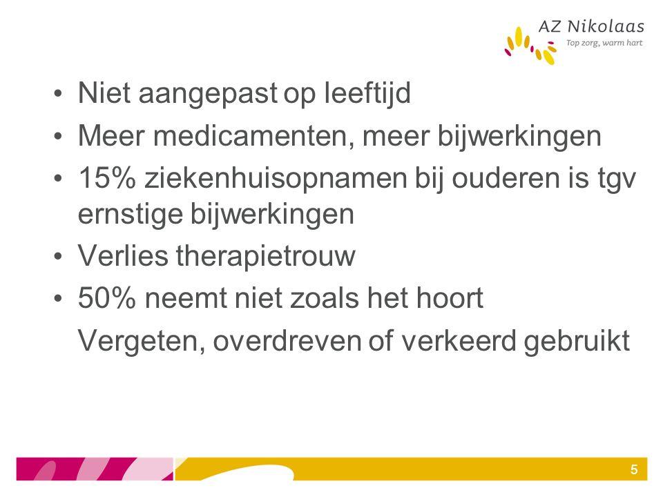 Casus 7 Consult GST bij patiënt opgenomen op heelkunde voor totale heuppropthese na val Reden consult: slikproblematiek, alle medicatie zou geplet worden in het WZC.