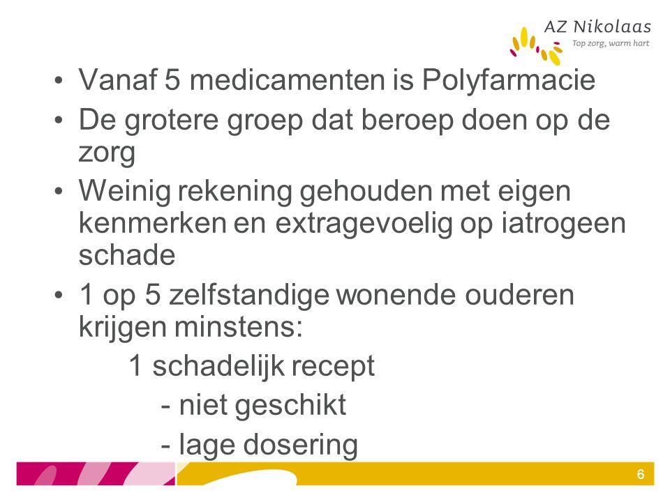 Vanaf 5 medicamenten is Polyfarmacie De grotere groep dat beroep doen op de zorg Weinig rekening gehouden met eigen kenmerken en extragevoelig op iatr