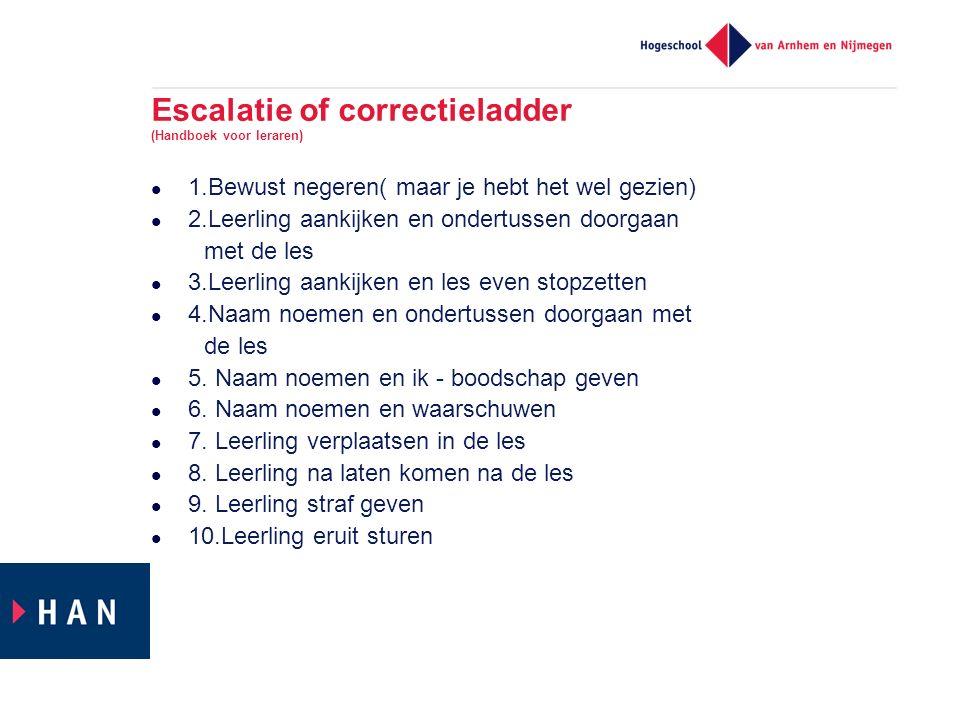 Escalatie of correctieladder (Handboek voor leraren) 1.Bewust negeren( maar je hebt het wel gezien) 2.Leerling aankijken en ondertussen doorgaan met d