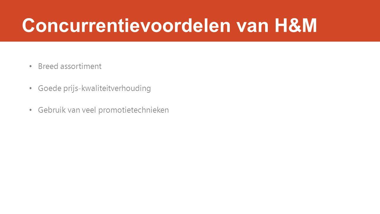 Concurrentievoordelen van H&M Breed assortiment Goede prijs-kwaliteitverhouding Gebruik van veel promotietechnieken