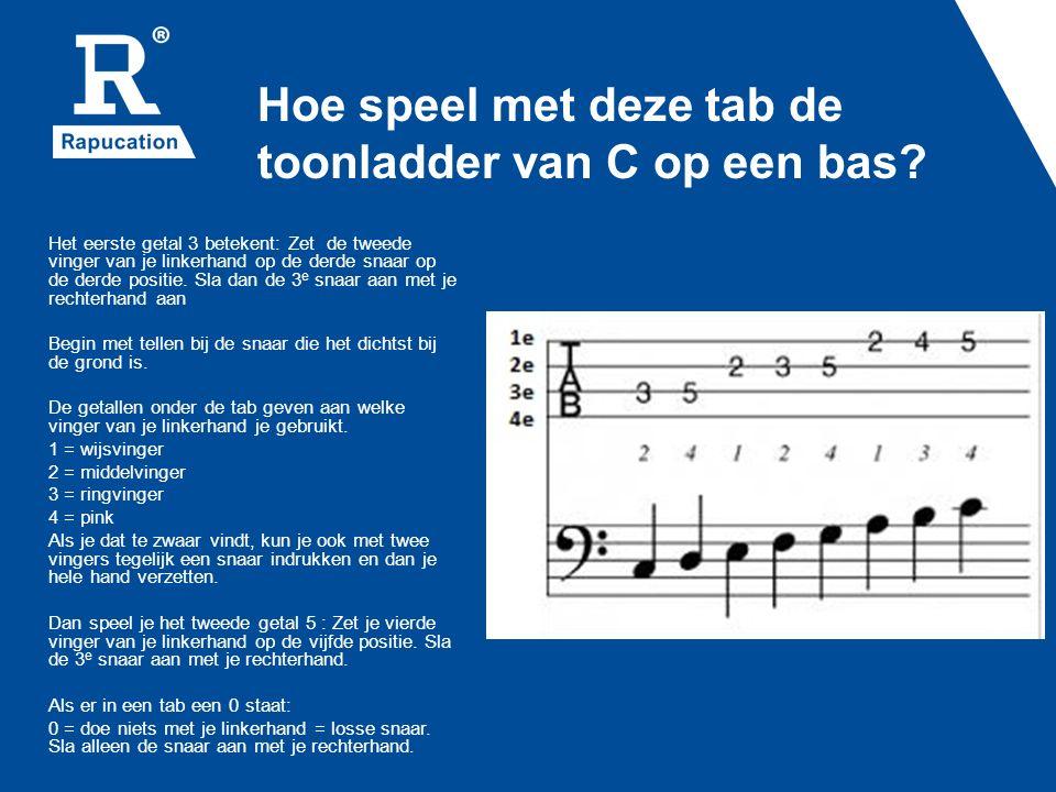 Hoe speel met deze tab de toonladder van C op een bas? Het eerste getal 3 betekent: Zet de tweede vinger van je linkerhand op de derde snaar op de der