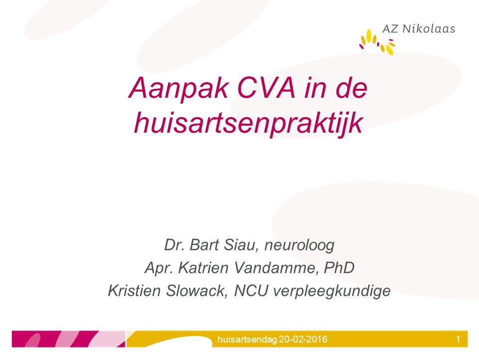 huisartsendag 20-02-20161 Aanpak CVA in de huisartsenpraktijk Dr. Bart Siau, neuroloog Apr. Katrien Vandamme, PhD Kristien Slowack, NCU verpleegkundig