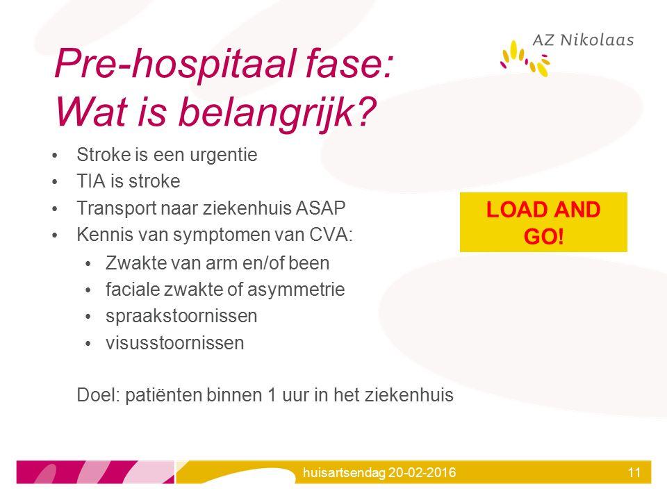 huisartsendag 20-02-201611 Pre-hospitaal fase: Wat is belangrijk? Stroke is een urgentie TIA is stroke Transport naar ziekenhuis ASAP Kennis van sympt