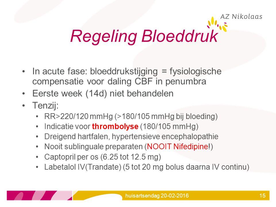 huisartsendag 20-02-201615 Regeling Bloeddruk In acute fase: bloeddrukstijging = fysiologische compensatie voor daling CBF in penumbra Eerste week (14