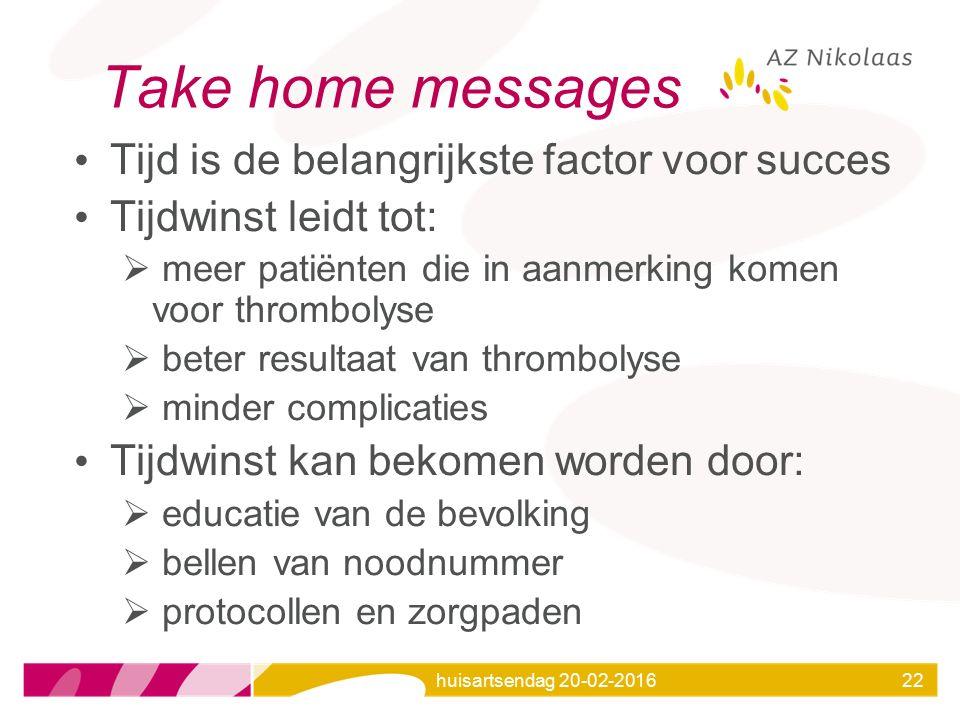 huisartsendag 20-02-201622 Take home messages Tijd is de belangrijkste factor voor succes Tijdwinst leidt tot:  meer patiënten die in aanmerking kome