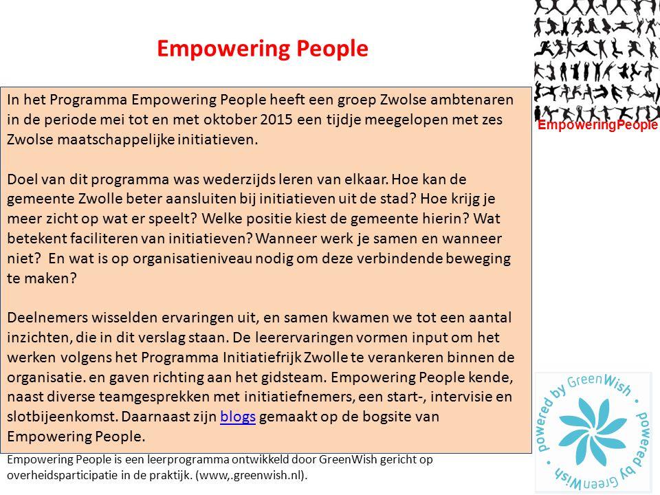 In het Programma Empowering People heeft een groep Zwolse ambtenaren in de periode mei tot en met oktober 2015 een tijdje meegelopen met zes Zwolse ma
