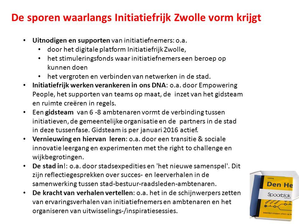 Uitnodigen en supporten van initiatiefnemers: o.a. door het digitale platform Initiatiefrijk Zwolle, het stimuleringsfonds waar initiatiefnemers een b