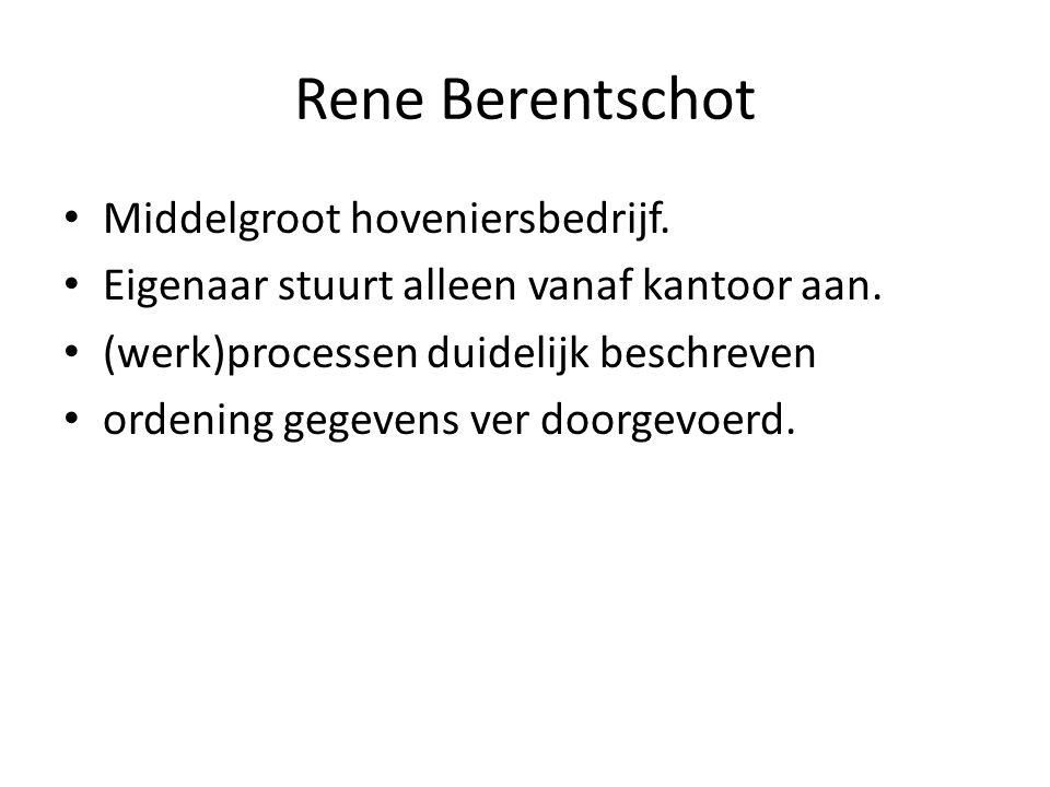 Rene Berentschot Middelgroot hoveniersbedrijf. Eigenaar stuurt alleen vanaf kantoor aan. (werk)processen duidelijk beschreven ordening gegevens ver do