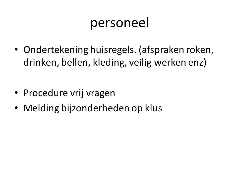 personeel Ondertekening huisregels.