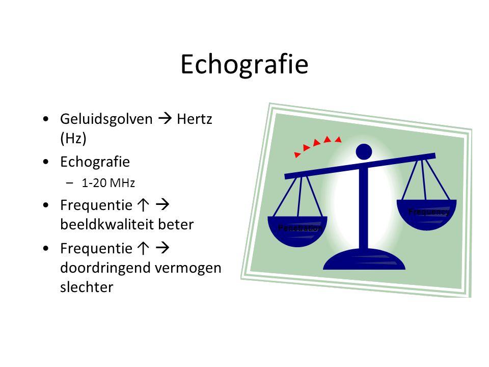 Echografie Geluidsgolven  Hertz (Hz) Echografie –1-20 MHz Frequentie ↑  beeldkwaliteit beter Frequentie ↑  doordringend vermogen slechter Penetration Frequency