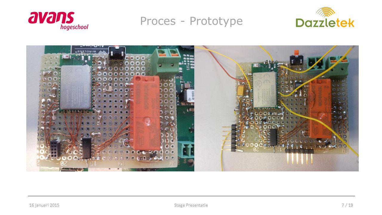 Stage Presentatie8 / 19 Proces - Prototype 16 januari 2015