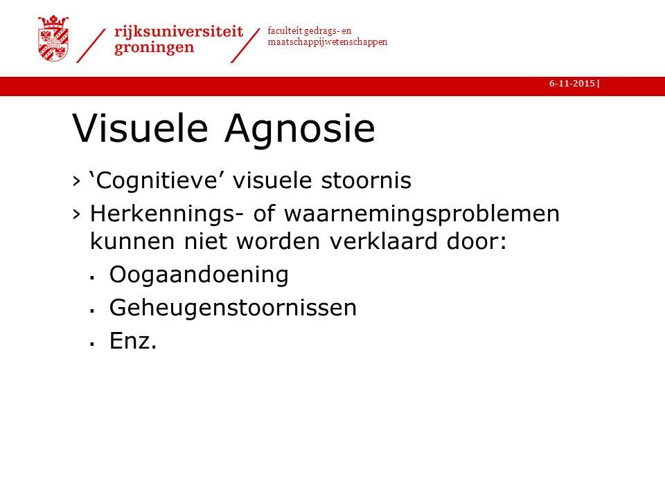 | faculteit gedrags- en maatschappijwetenschappen 6-11-2015 Visuele Agnosie ›'Cognitieve' visuele stoornis ›Herkennings- of waarnemingsproblemen kunnen niet worden verklaard door:  Oogaandoening  Geheugenstoornissen  Enz.
