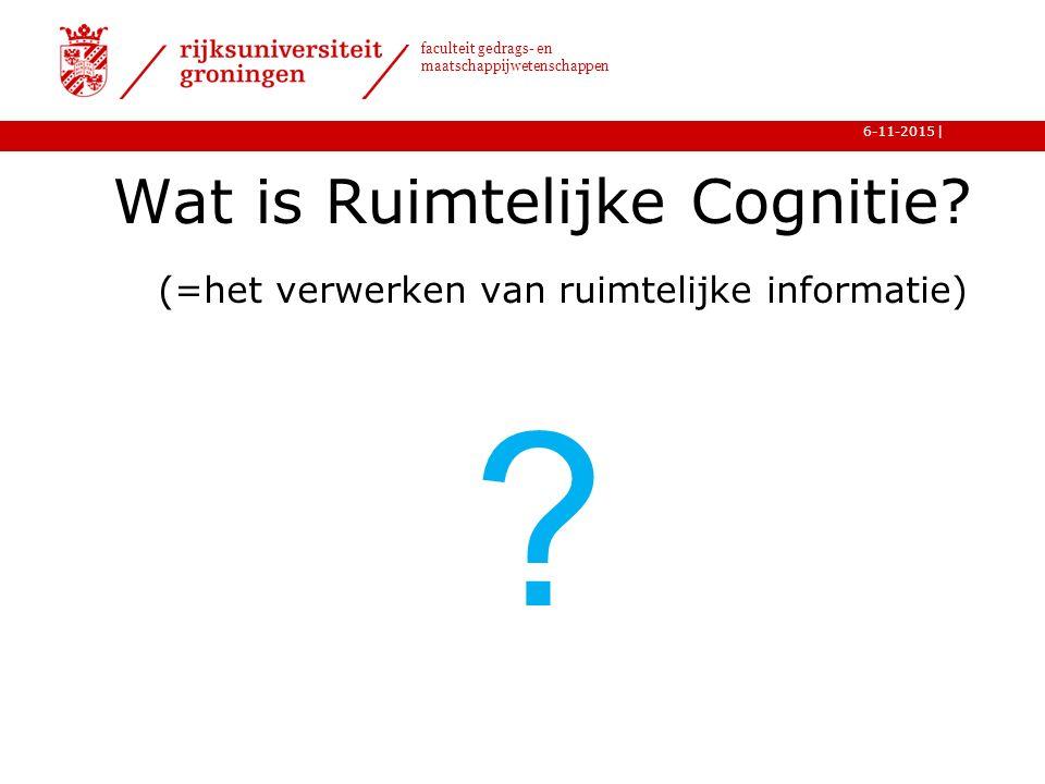 | faculteit gedrags- en maatschappijwetenschappen 6-11-2015 Wat is Ruimtelijke Cognitie.
