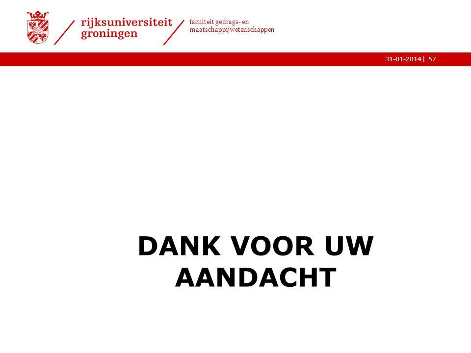| faculteit gedrags- en maatschappijwetenschappen 31-01-2014 DANK VOOR UW AANDACHT 57