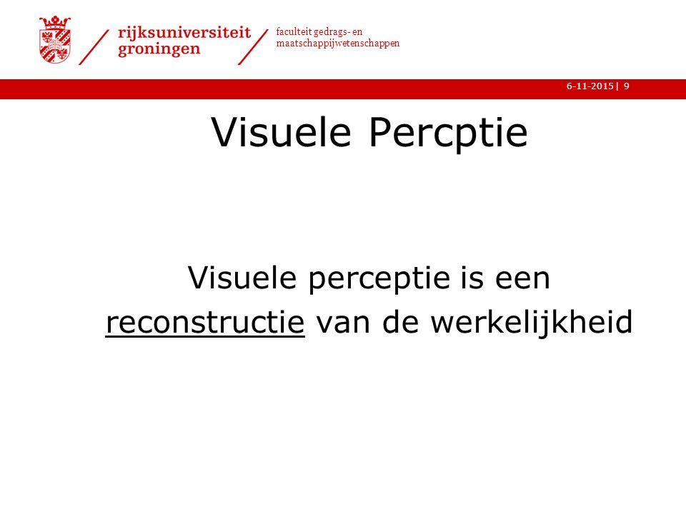 | faculteit gedrags- en maatschappijwetenschappen 6-11-2015 Visuele Percptie Visuele perceptie is een reconstructie van de werkelijkheid 9