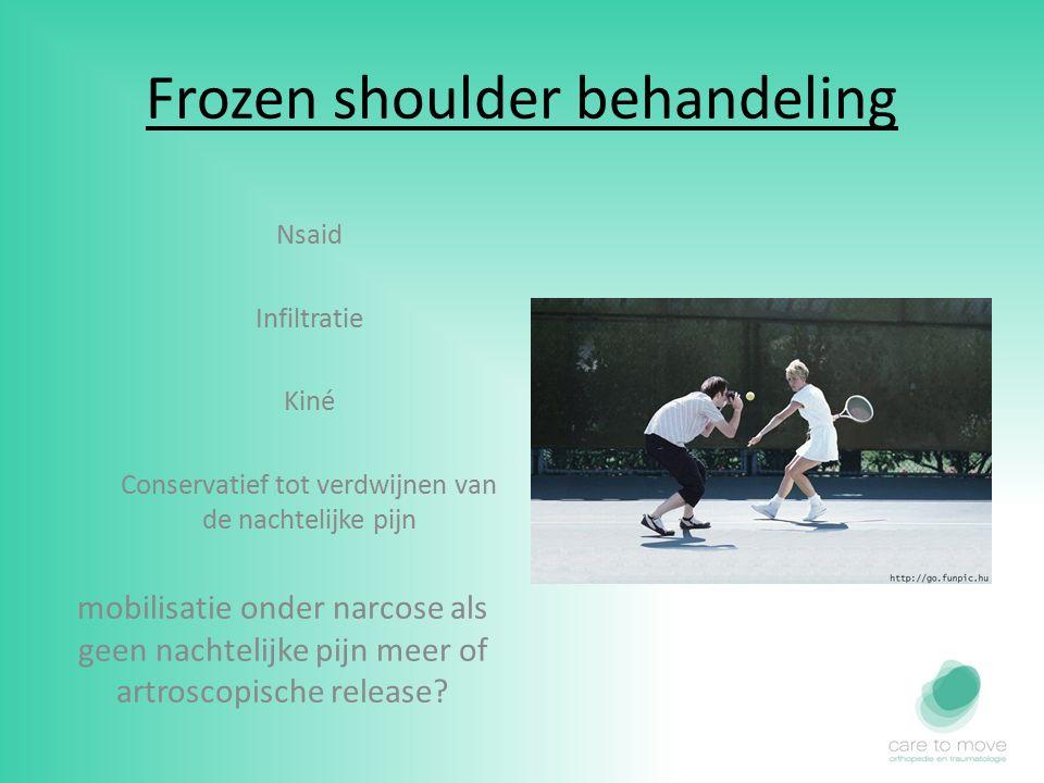 Frozen shoulder behandeling Nsaid Infiltratie Kiné Conservatief tot verdwijnen van de nachtelijke pijn mobilisatie onder narcose als geen nachtelijke pijn meer of artroscopische release?