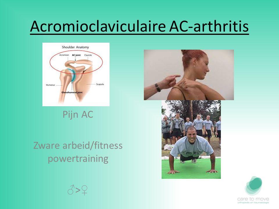 Acromioclaviculaire AC-arthritis Pijn AC Zware arbeid/fitness powertraining ♂ > ♀