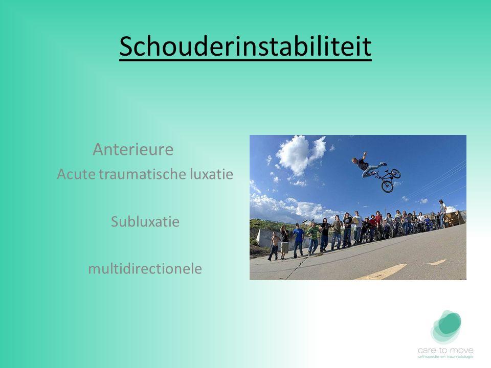 Schouderinstabiliteit Anterieure Acute traumatische luxatie Subluxatie multidirectionele