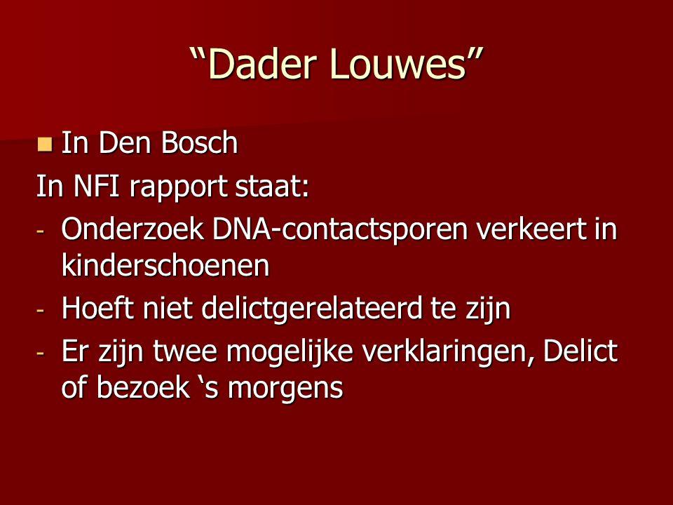 Dader Louwes In Den Bosch In Den Bosch In NFI rapport staat: - Onderzoek DNA-contactsporen verkeert in kinderschoenen - Hoeft niet delictgerelateerd te zijn - Er zijn twee mogelijke verklaringen, Delict of bezoek 's morgens